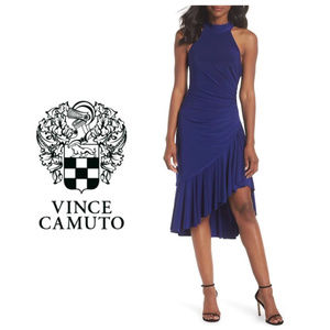 Plus Vince Camuto Halter Blue Cocktail Dress 16